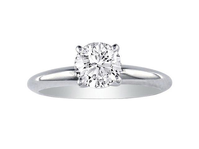 1/2ct Round Diamond Engagement Ring in 14k White Gold, J/K, I2