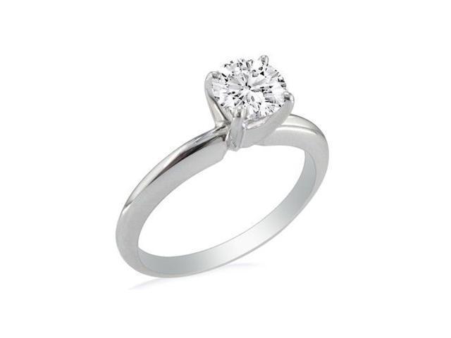 1 1/2ct Round Diamond Solitaire Ring in 14k White Gold, J/K, I1/I2