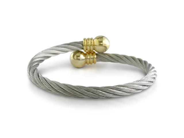 Elegant Twisted Rope Stainless and Gold Triple Rope Cuff Bracelet