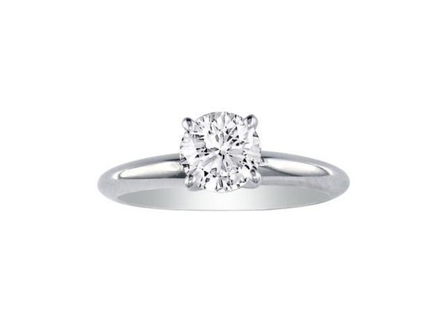 1ct Round Diamond Solitaire Ring in 14k White Gold, I, SI3