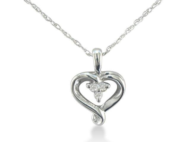 Three Stone Diamond Heart Necklace in Sterling Silver on an 18