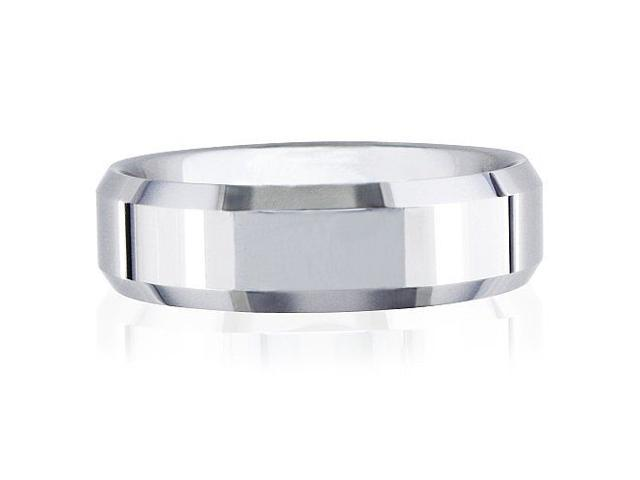 7mm Beveled Tungsten Wedding Band (Available ,Ring Sizes 8-13)