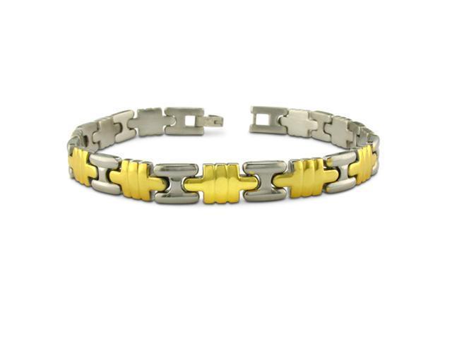 Two Tone Stainless Steel Men's Bracelet 8 1/2