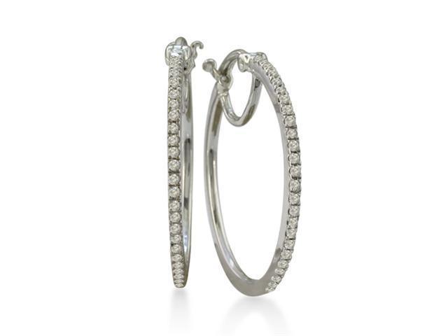 1/4ct Diamond Hoop Earrings in Sterling Silver ( 1 inch hoops)