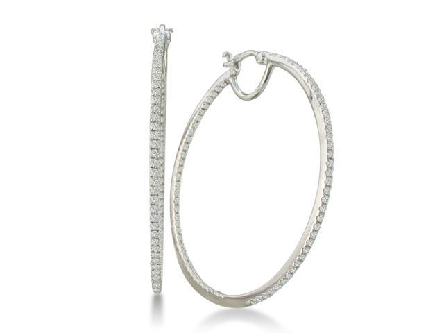 1/2ct Diamond Inside-Out Hoop Earrings in Sterling Silver (1 3/4 inch hoops)