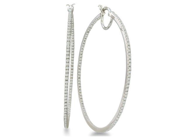 1ct Diamond Inside-Out Hoop Earrings in Sterling Silver ( 2 inch hoops)