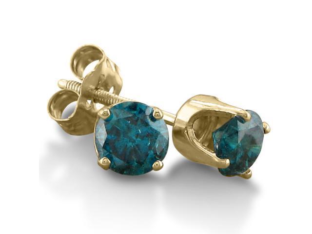 1/2ct Blue Diamond Stud Earrings in 14k Yellow Gold