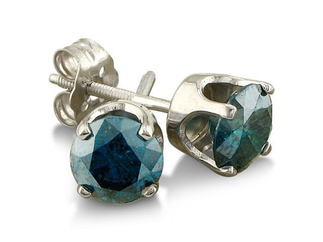 3/4ct Blue Diamond Stud Earrings in 14k White Gold