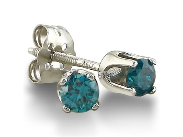 1/4ct Blue Diamond Stud Earrings in 14k White Gold