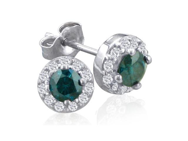 1/2ct Blue Diamond Stud Earrings With Pave Diamonds