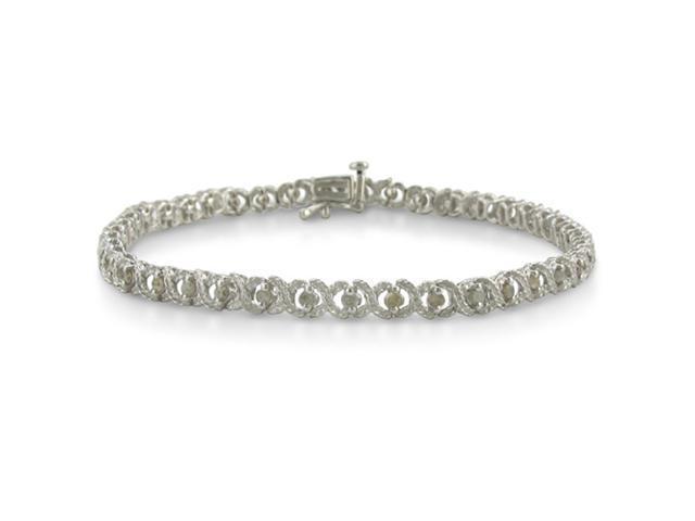 1ct Diamond Hugs n Kisses Bracelet Crafted in Sterling Silver 7 inch