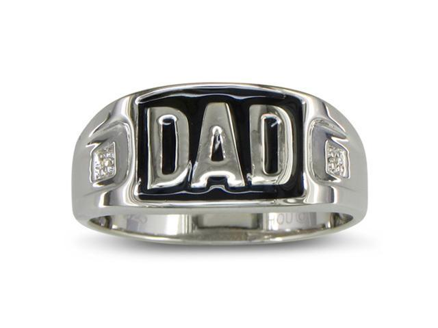 Diamond Dad Mens Ring, Sterling Silver. All Ring Sizes