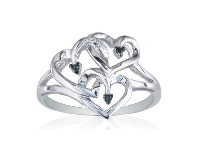 Black Diamond and Sterling Silver Triple Heart Ring