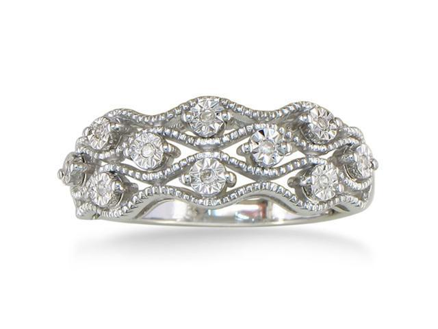 .05ct Antique Style Diamond Ring in Sterling Silver