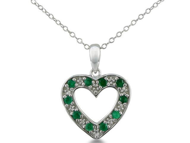 1/2ct Diamond and Emerald Heart Pendant in Sterling Silver