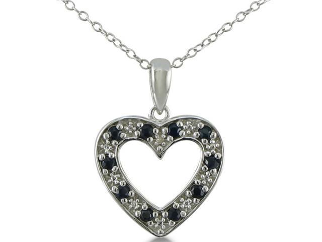 1/2ct Diamond and Sapphire Heart Pendant in Sterling Silver