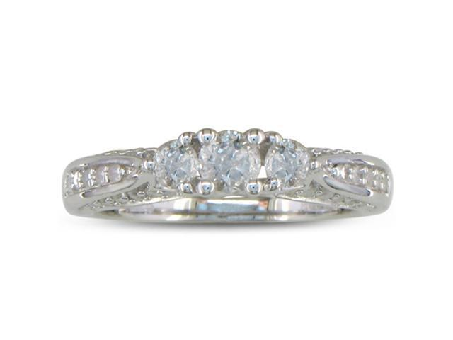 1/2ct Diamond Engagement Ring in Sterling Silver