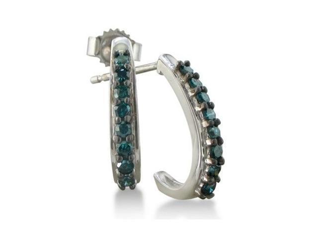 1/4ct J-Hoop Blue Diamond Hoop Earrings in 10k White Gold