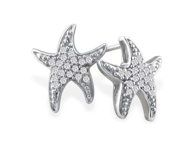 1/5ct Diamond Starfish Earrings in 10k White Gold