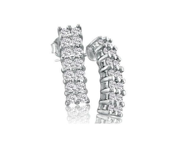 .84ct Double Row Diamond Earrings in 10k White Gold