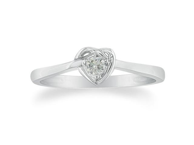 Dainty Heart Shaped .07ct Diamond Promise Ring in Sterling Silver