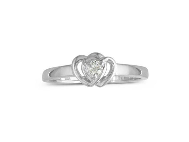 Heart Shaped Diamond Promise Ring in Sterling Silver