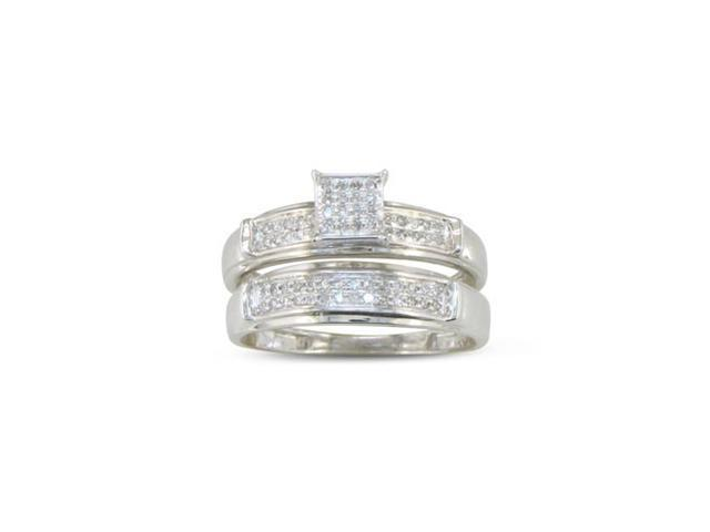 1/5ct Diamond Micropave Bridal Set, Sterling Silver