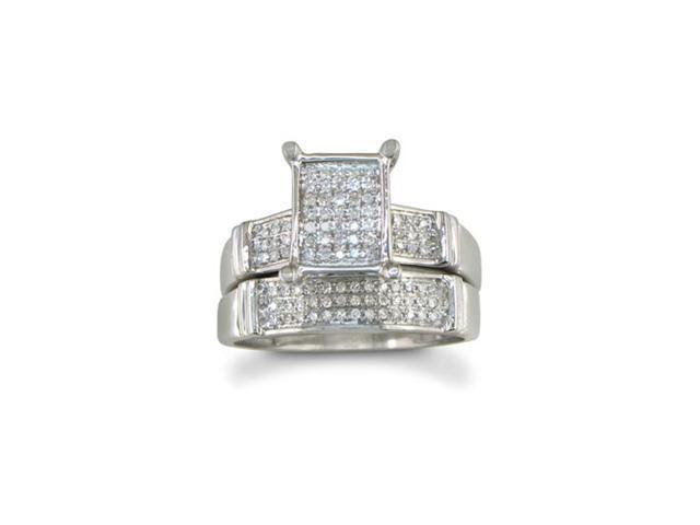 HUGE LOOK 1/3ct Diamond Micropave Bridal Set, Sterling Silver