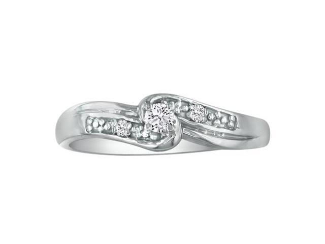 1/10ct Diamond Promise Ring with Thick Band in 10k White Gold