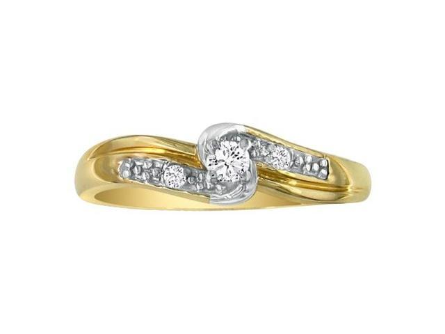 Diamond Promise Ring with Thick Band, 10k Yellow Gold