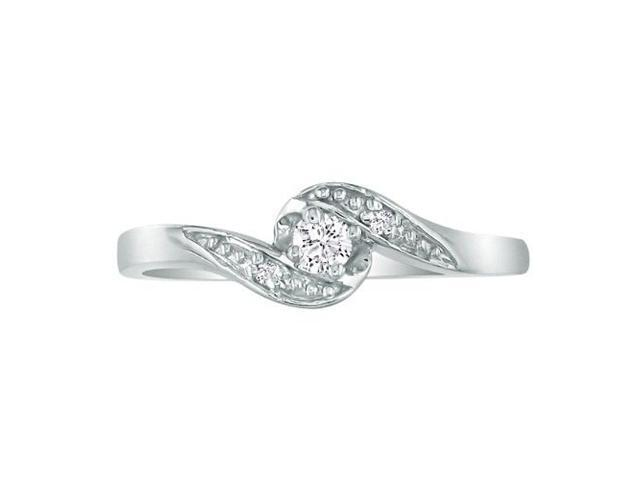 Bypass Diamond Promise Ring in 10k White Gold