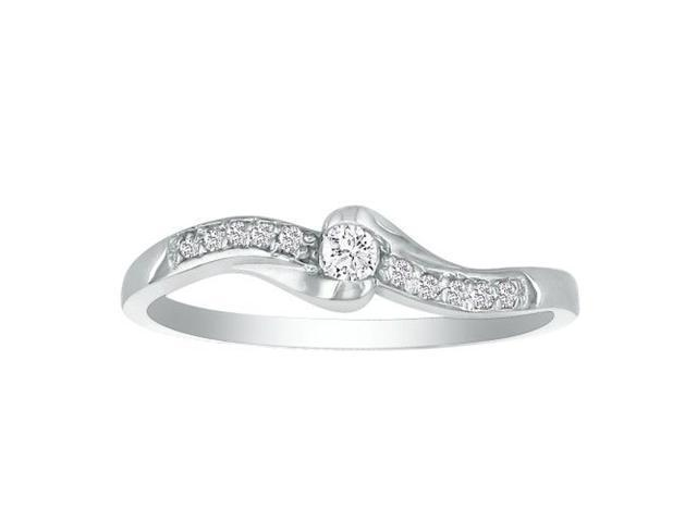 Solid and Fancy 11 Diamond Promise Ring, 10k White Gold