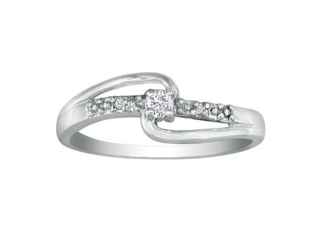 Beautiful Open Shank Diamond Promise Ring, 10k White Gold