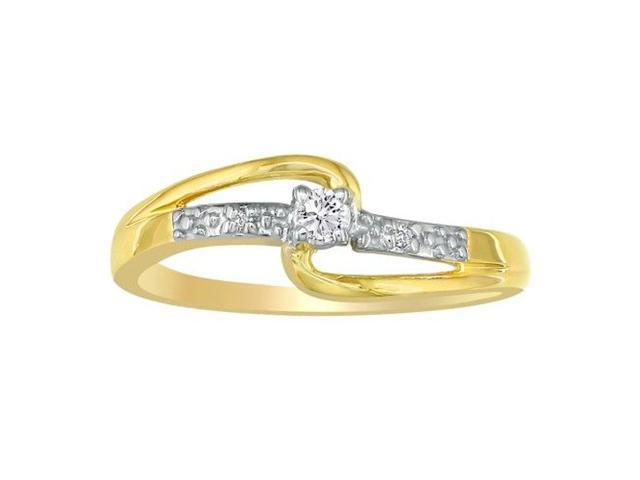 Beautiful Open Shank Diamond Promise Ring, 10k Yellow Gold