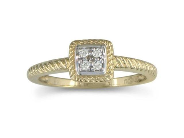 1/10ct Braided Diamond Promise Ring in 10k Yellow Gold