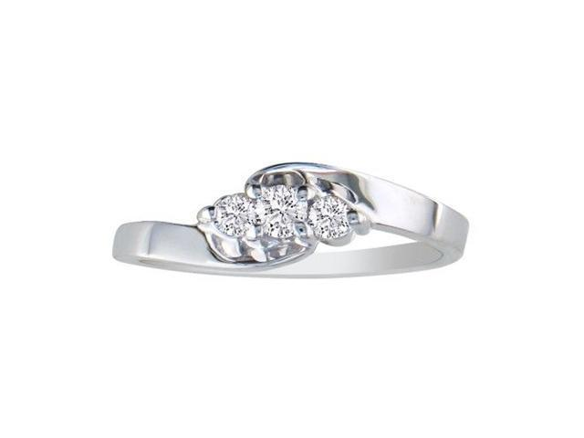 1/8ct Three Diamond Ring in 10k White Gold