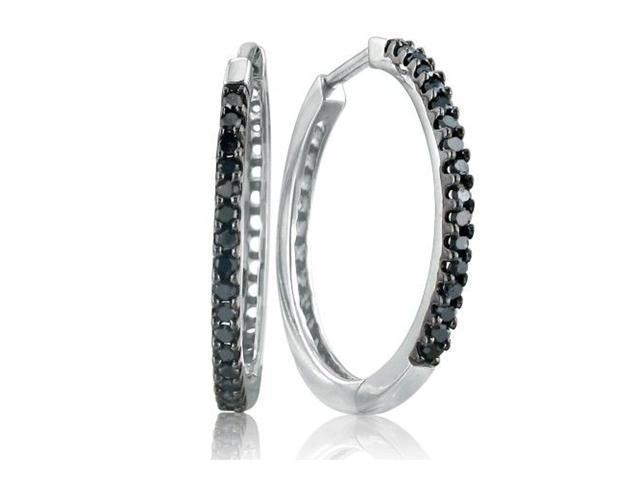 1/4ct Black Diamond Hoop Earrings in Sterling Silver