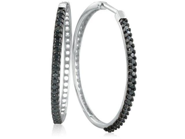 1/2ct Black Diamond Hoop Earrings in Sterling Silver