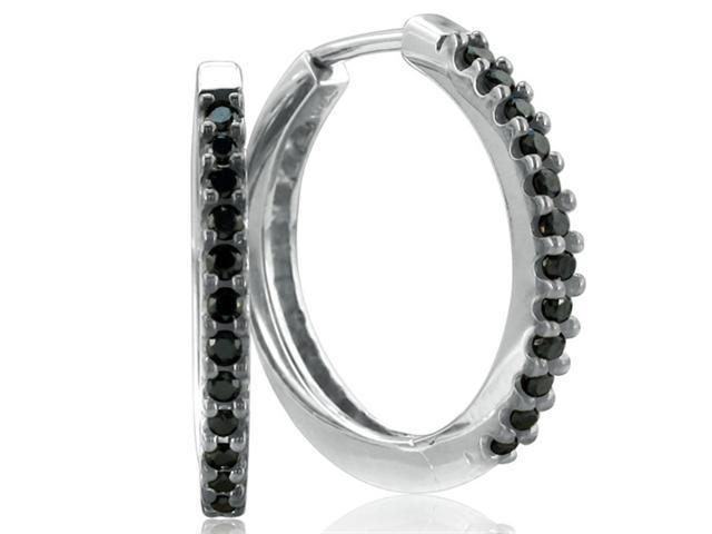 Black Diamond Hoops in White Gold! hot, hot, HOT