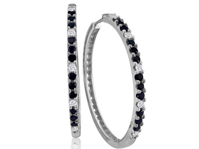 1ct White and Black Diamond Hoop Earrings, 14k White Gold