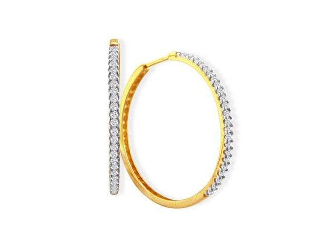 Enchanting 3/4ct White Diamond Hoop Earrings in 14K Yellow Gold