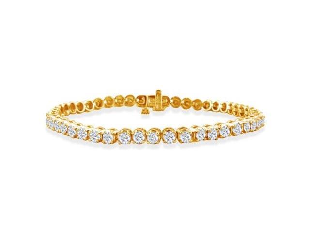 3ct Round Based Diamond Tennis Bracelet in 14k Yellow Gold