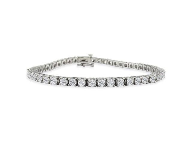 8 INCH, 3.42ct Diamond Tennis Bracelet in 14k White Gold