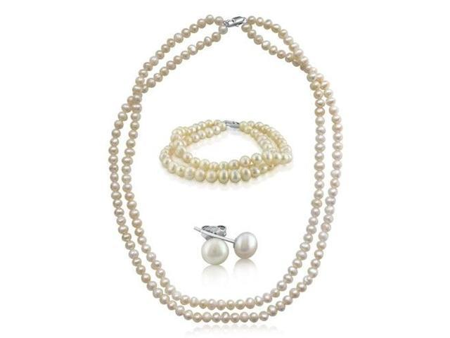 5-6mm 3 Piece Baroque Pearl Set with Necklace, Bracelet, and Earrings