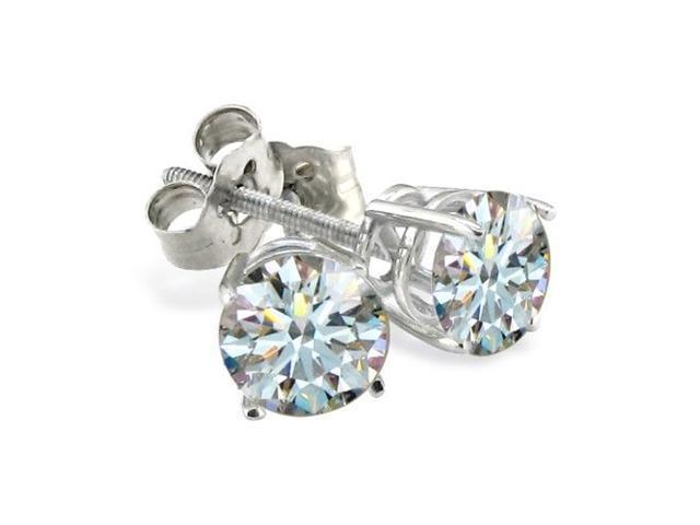 3/4ct Hearts & Arrows Diamond Earrings, 18k White Gold, H/I, SI1/SI2