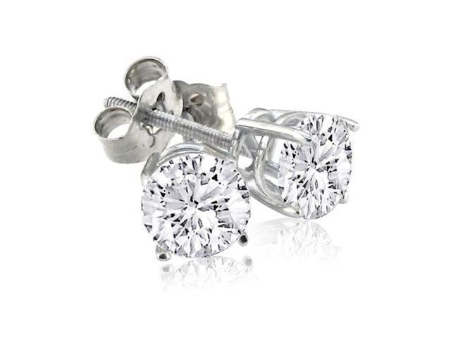 2ct Diamond Stud Earrings in 18K White Gold, J/K Color, I1/I2 Clarity