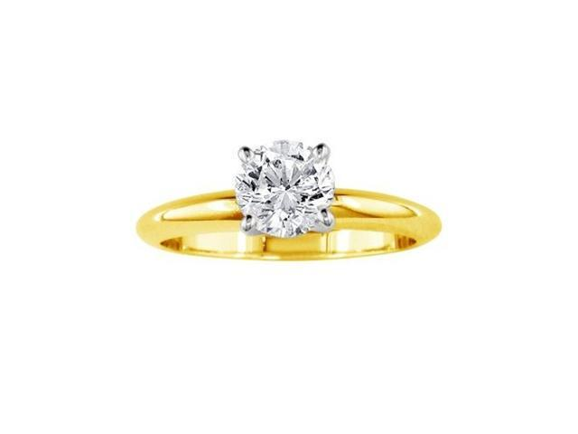 3/4ct Closeout Diamond Solitaire Ring, 14k Yellow Gold.