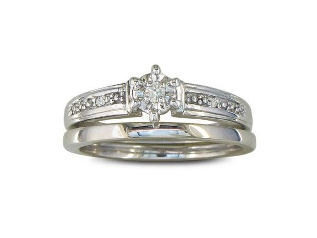 Finely Crafted Diamond Bridal Wedding Set in Sterling Silver