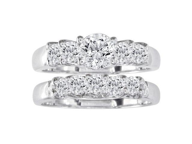 1/2ct Diamond Bridal Set With .15ct Center Diamond in 14k White Gold