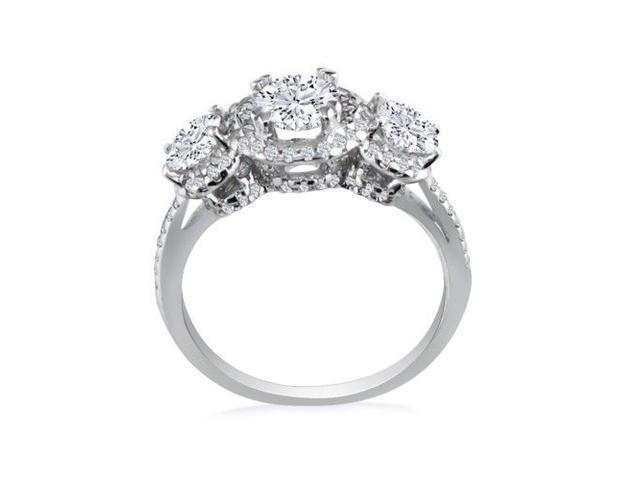 1/2ct Micro Pave Three Diamond Ring in 14K White Gold